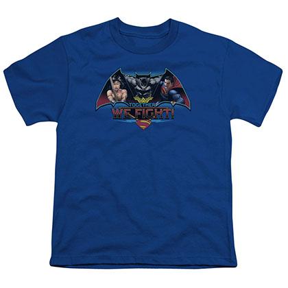 Batman v Superman Together We Fight Blue Youth Unisex T-Shirt