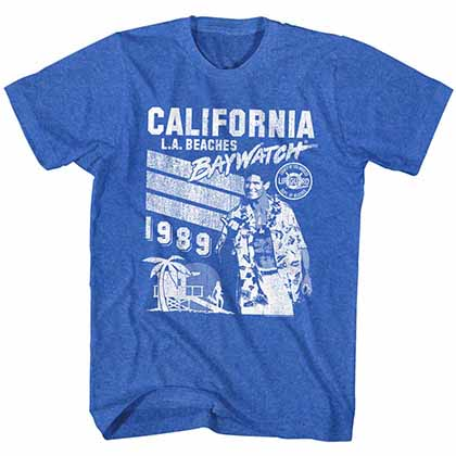 Baywatch California 1989 Mens Blue T-Shirt