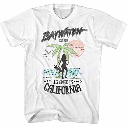 Baywatch LA California Mens White T-Shirt