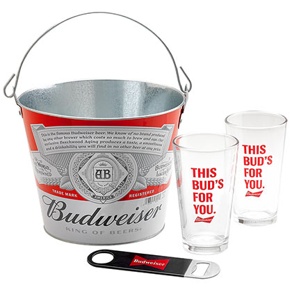 Budweiser Pint Glass Beer Bucket Combo Gift Set