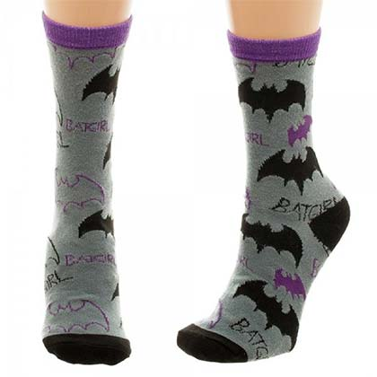 Batman Grey Juniors Batgirl Tossed Print Crew Socks