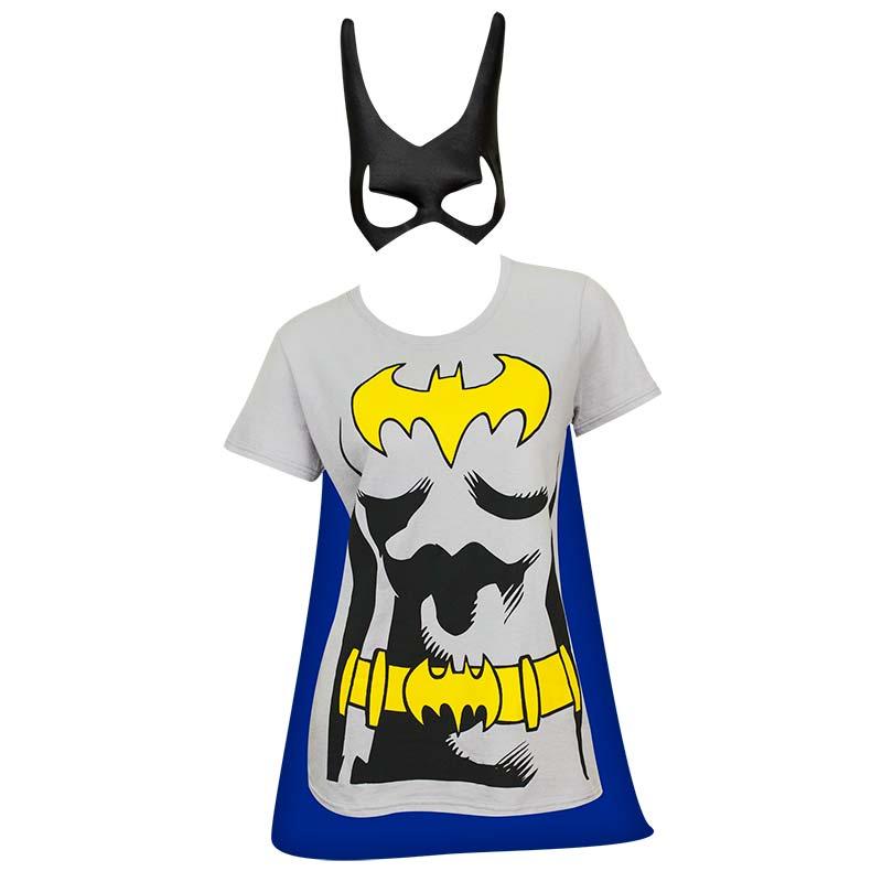 Batman Women's Grey Cape/Mask Costume T-Shirt
