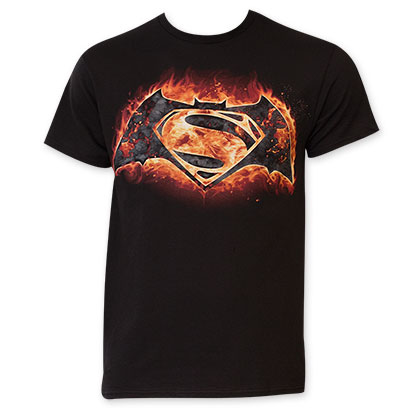 Batman vs. Superman Men's Black Flames Logo T-Shirt