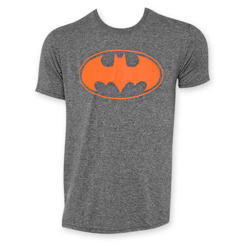batman charcoal grey orange logo t shirt