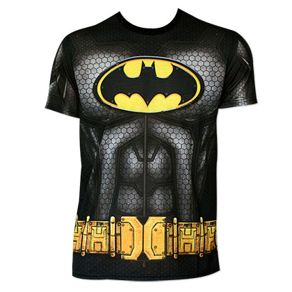 Batman Men's Black Sublimated Caped Costume T-Shirt