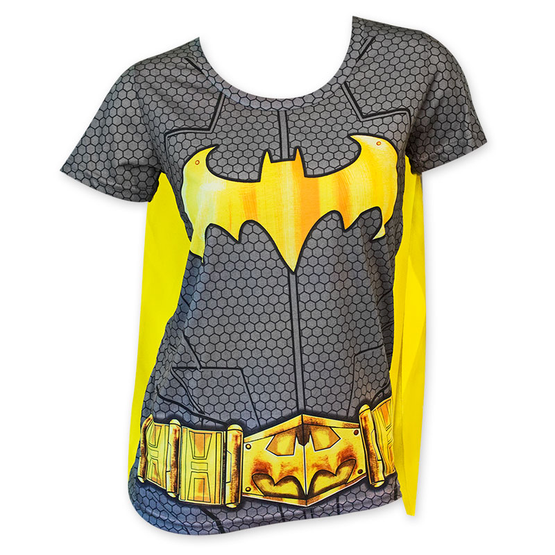 3b757dc1 Batman Sublimated Women's Caped Costume T-Shirt | SuperheroDen.com