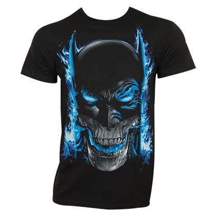 Batman Men's Black Blue Flames T-Shirt