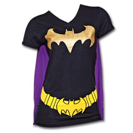 Batman Juniors T Shirt with Cape Black and Purple