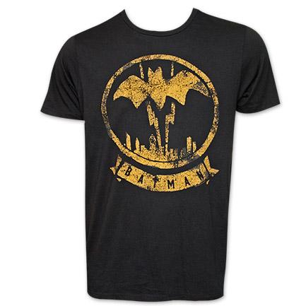 Batman Junk Food Brand Black & Yellow Vintage Logo TShirt