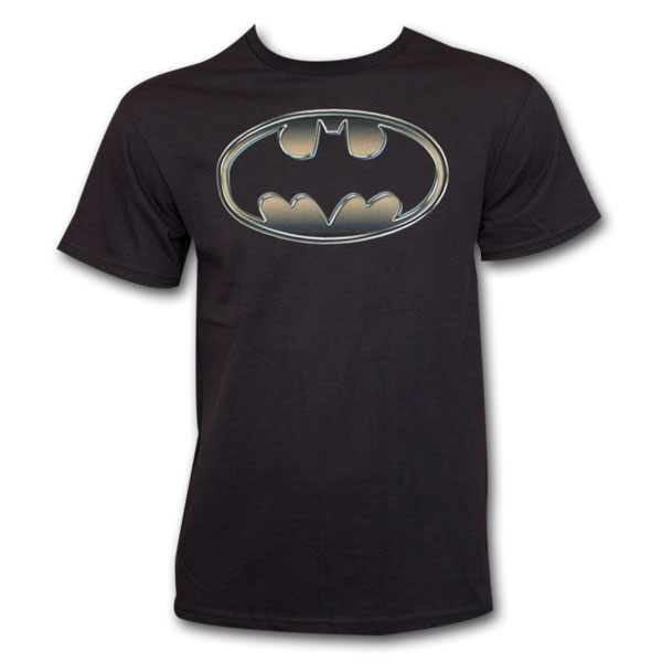 Batman Classic Golden Embossed Logo T-Shirt - Black