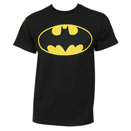 Batman Classic Yellow Bat Logo Black Graphic Tee Shirt