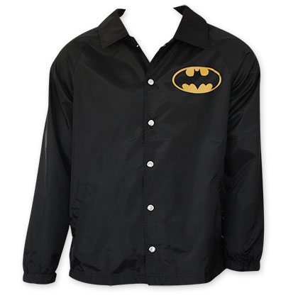 Batman Men's Black Bat Logo Coaches Jacket