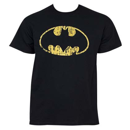 Batman Men's Black Faded Logo T-Shirt