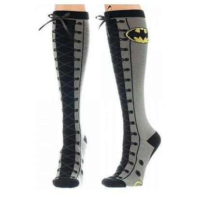 Batman Grey Faux Lace Up Socks