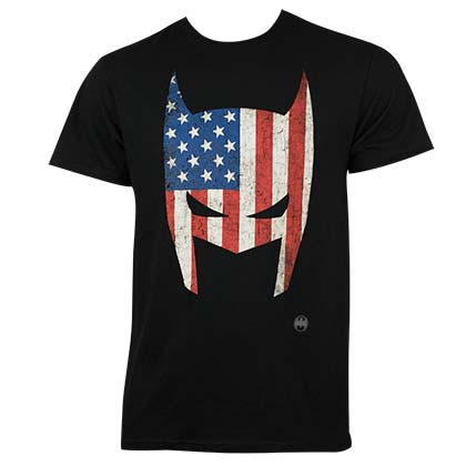 Batman Men's Black American Flag Mask T-Shirt