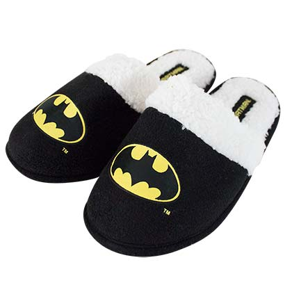 Batman Logo Fleece Black Slippers