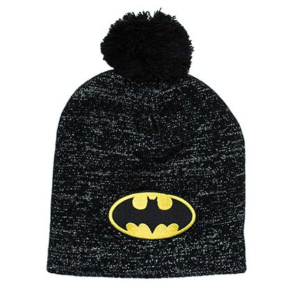 Batman Logo Winter Pom Glitter Beanie