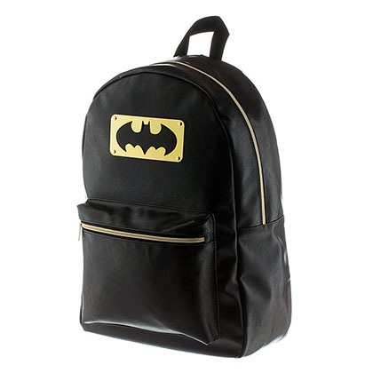 Batman Metal Plate Bat Logo Backpack