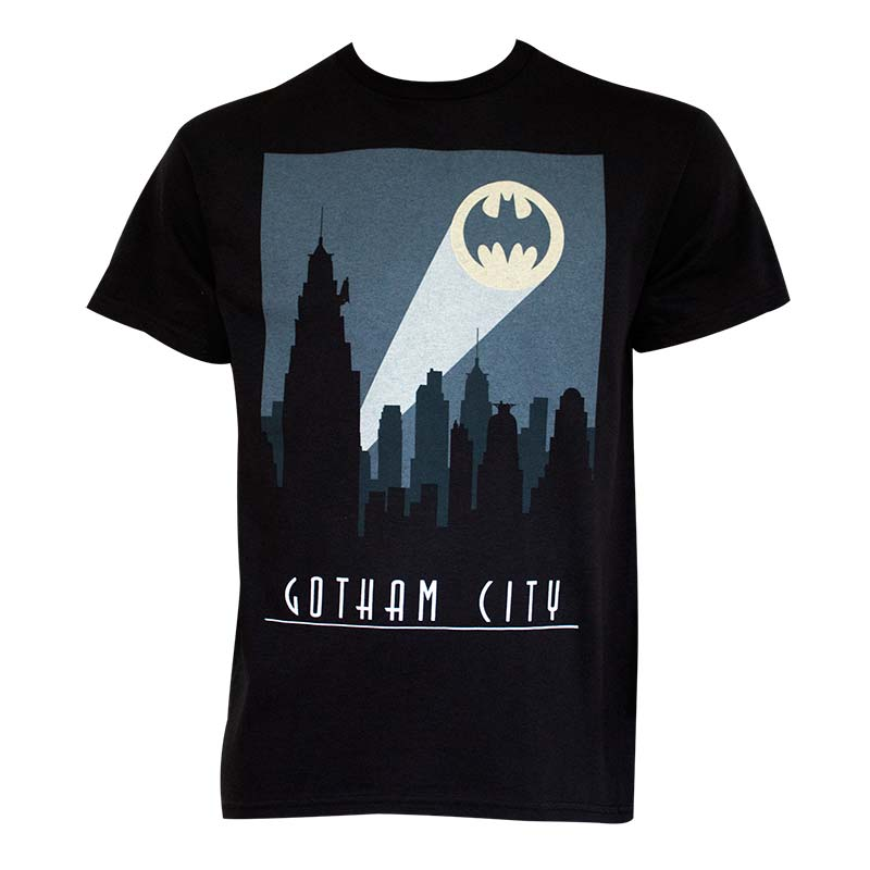 Batman Men's Black Art Deco Gotham City T-Shirt