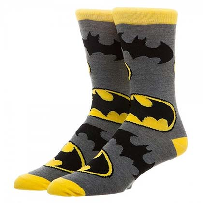 Batman Men's Grey Bat Sign Crew Socks