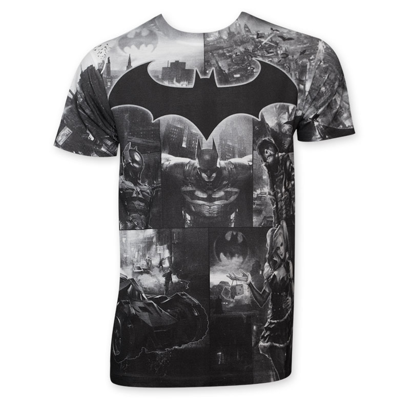 Batman Arkham Knight Men's Grayscale Sublimated T-Shirt