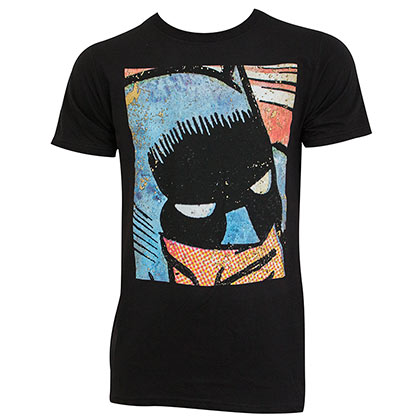 Batman Men's Black Vintage Comic Panel T-Shirt