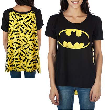 Batman Women's Black Interchangeable Cape Costume T-Shirt
