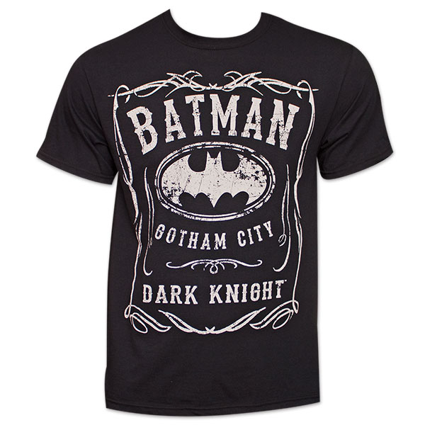 Batman Whiskey-Style Logo Tee Shirt - Black