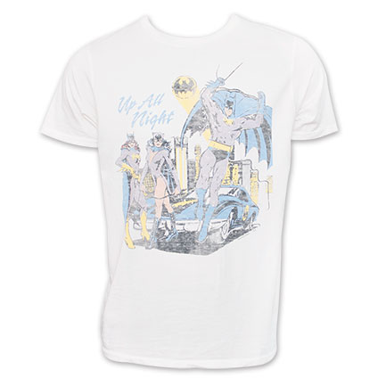Batman Up All Night Junk Food Tee Shirt - White