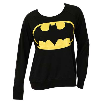 Batman Juniors Black French Terry Long Sleeve Shirt