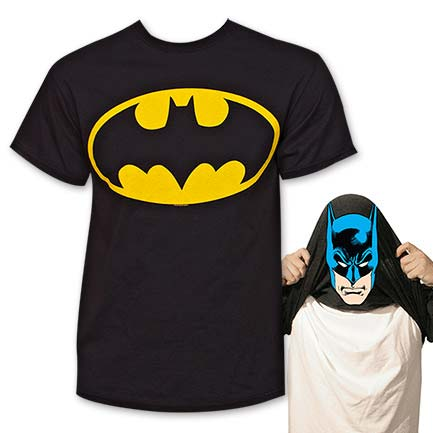 Batman Face Flip-Up Reversible Face Tee - Black