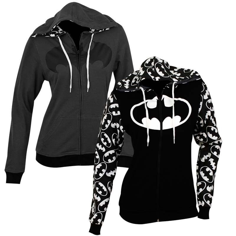 Batman Women's Black Reversible Hoodie
