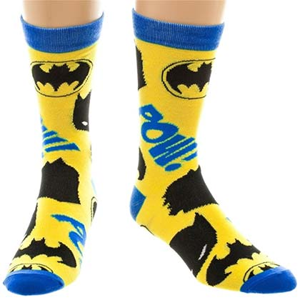 Batman Men's Pow! Yellow Crew Socks
