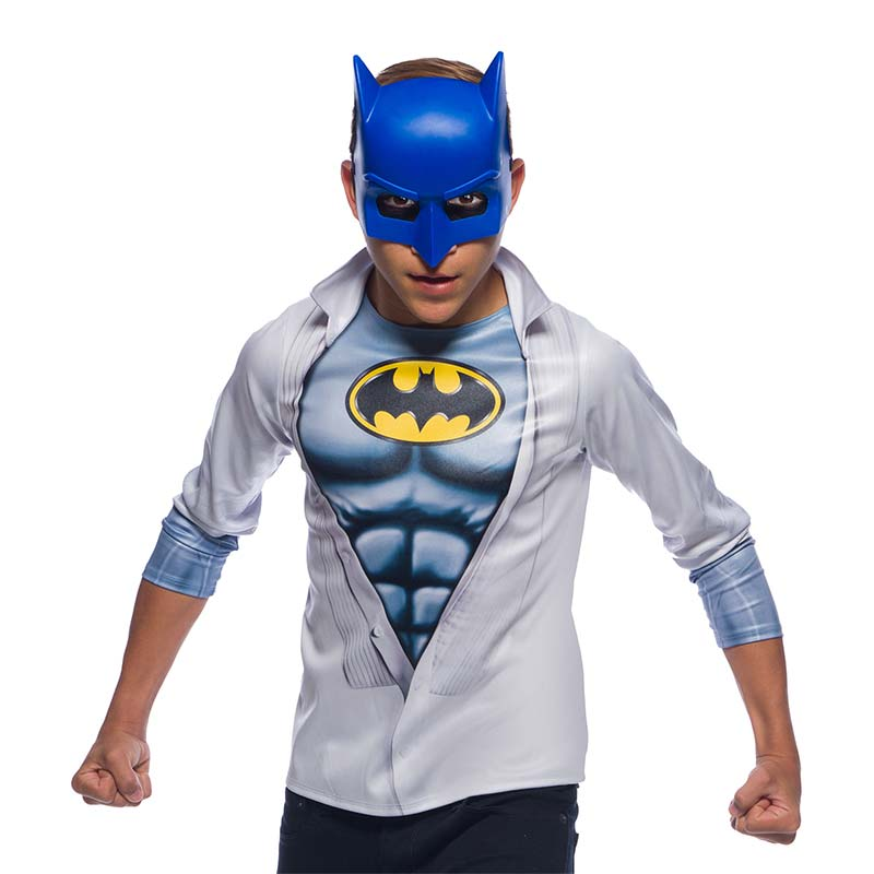 Batman Youth Blue Mask And Shirt Combo