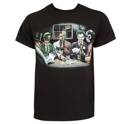 Batman Men's Black Villains Poker T-Shirt