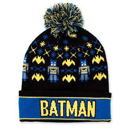 Batman Black And Blue Pom Pom Beanie