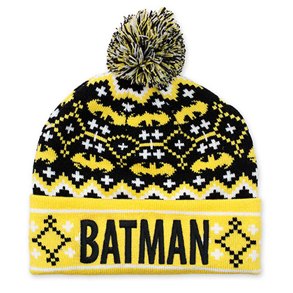 Batman Winter Pom Pom Black And Yellow Beanie