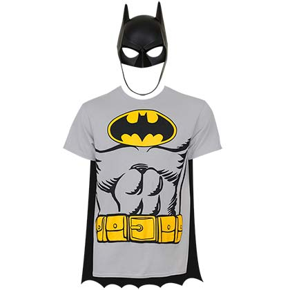 Batman Men's Grey Cape/Mask Costume T-Shirt