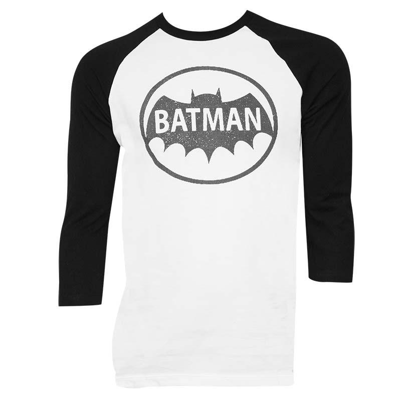 Batman Raglan Sleeve White Tee Shirt