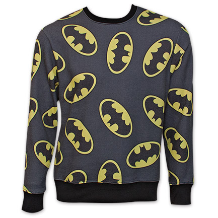 Batman Logo Sublimation Print Crew Neck Sweatshirt