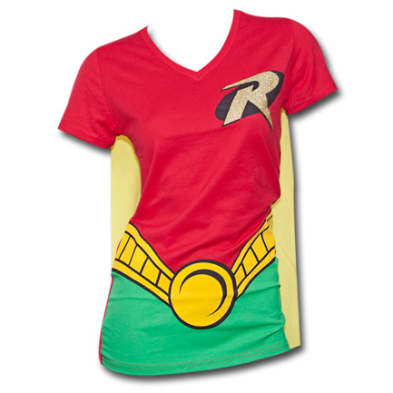 Batman Robin Juniors Costume DC Comics T Shirt with Cape Red and Yellow