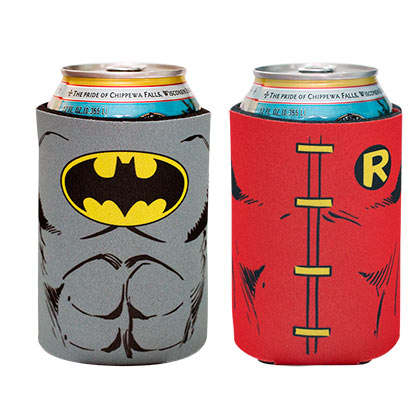 DC Batman And Robin Cartoon Can Cooler 2 Pack