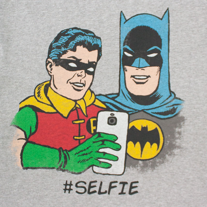 Batman And Robin Grey Selfie Tee Shirt