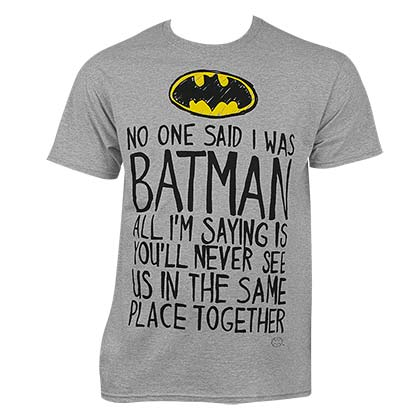Batman Men's Grey No One Said T-Shirt