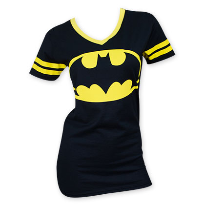 Batman Women's V-Neck Yellow Rimmed Shirt