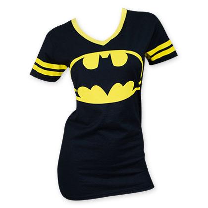 Batman Black Bat Logo Yellow Rimmed V-Neck Shirt