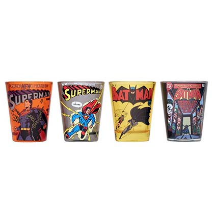 Batman And Superman Cartoon Shot Glass 4 Pack