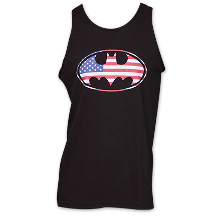 Batman American Flag Logo Tank Top - Black
