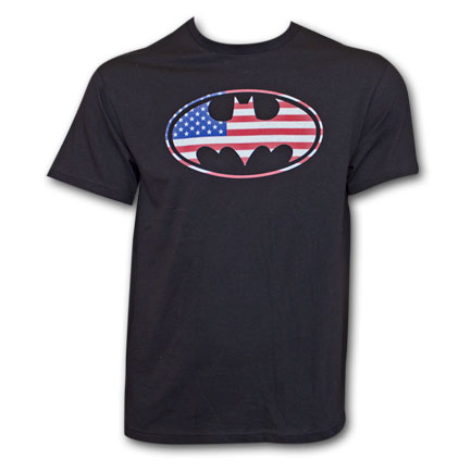 Batman American Flag T-Shirt - Black