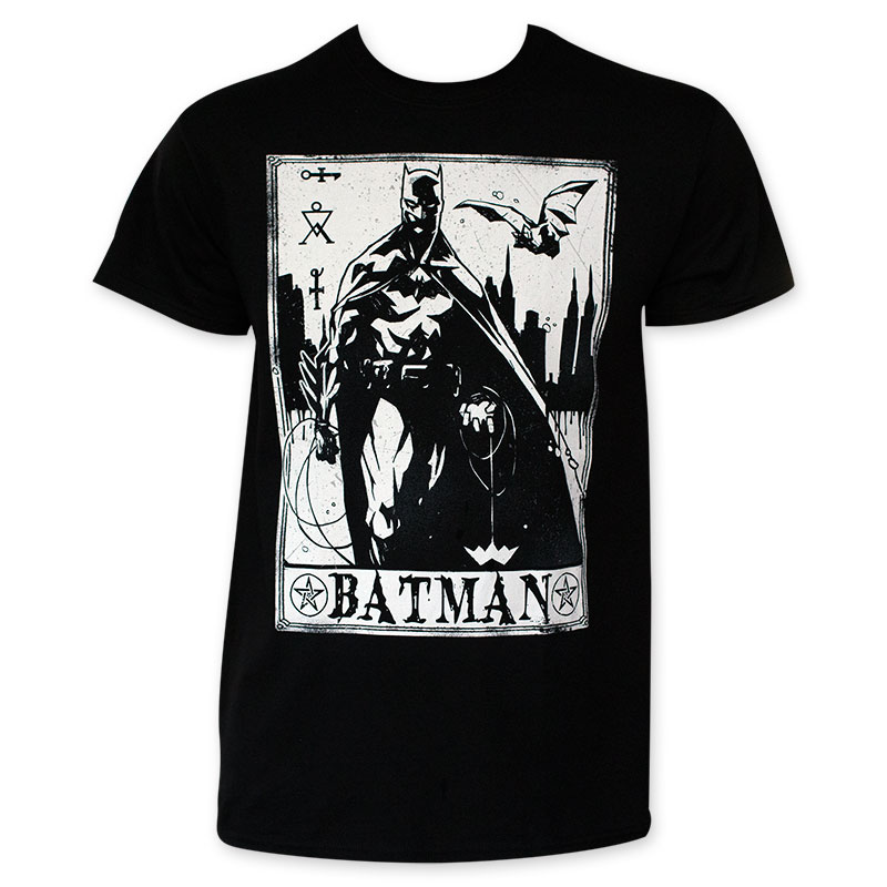 Batman Men's Black White Card T-Shirt